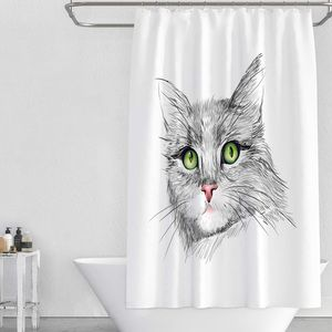 Posherpooch Bath - NWT Green Eyes Cat Kitty Kitten Shower Curtain